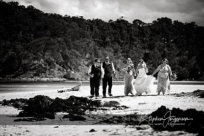 Wedding photograph on Pambula Beach by Stephen Jorgensen from All Saints Photography Albury.