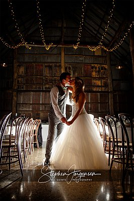 Wedding photograph in the barn at Brown Brothers Winery Milawa by Stephen Jorgensen from All Saints Photography Albury.