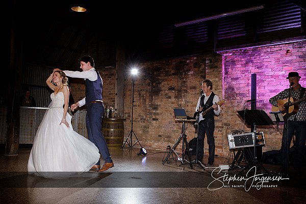 Wedding photograph of the first dance in the barn at Brown Brothers Winery Milawa by Stephen Jorgensen from All Saints Photography Albury.