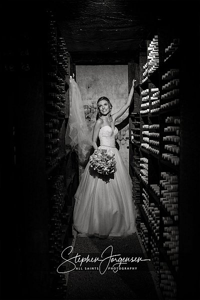 Wedding photograph in the cellar at Brown Brothers Winery Milawa by Stephen Jorgensen from All Saints Photography Albury.