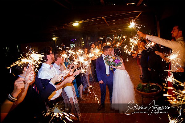 Wedding photograph with sparklers at Brown Brothers Winery Milawa by Stephen Jorgensen from All Saints Photography Albury.