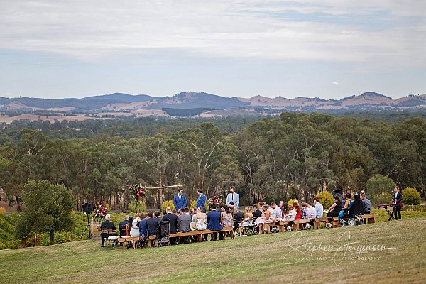 Ceremony Wedding photograph at Gapstead Wines by Stephen Jorgensen from All Saints Photography Albury.
