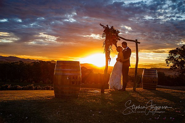 Sunset Wedding photograph at Gapstead Wines by Stephen Jorgensen from All Saints Photography Albury.