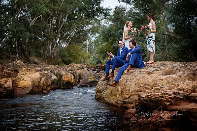 Wedding couple at the river in Myrtleford at Gapsted Wines Stephen Jorgensen from All Saints Photography Albury.